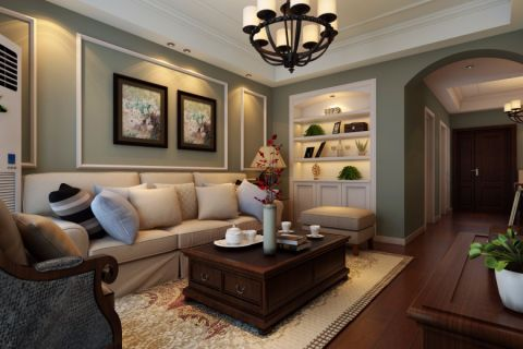 客厅灰色照片墙美式风格装修设计图片