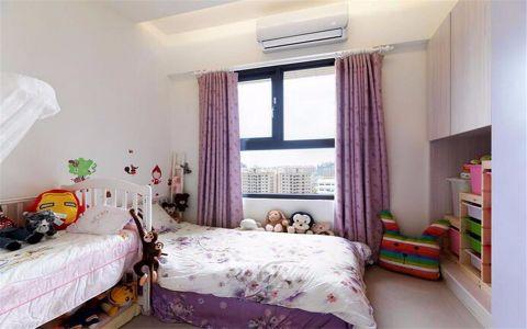 儿童房紫色窗帘美式风格装潢效果图