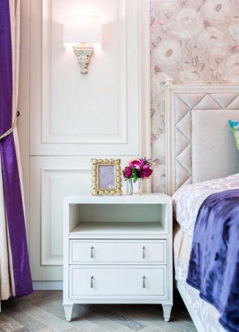 卧室白色床头柜美式风格装潢效果图