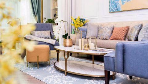 客厅白色茶几美式风格装饰图片