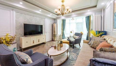 客厅白色电视柜美式风格装潢图片