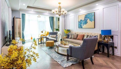客厅白色背景墙美式风格装修设计图片