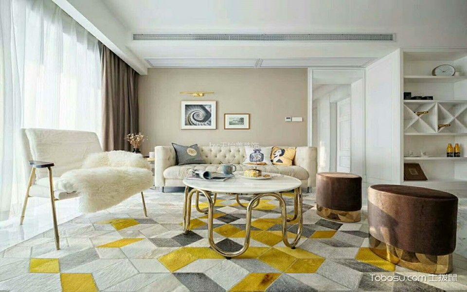 国盛三千城110平美式风格三居室装修效果图