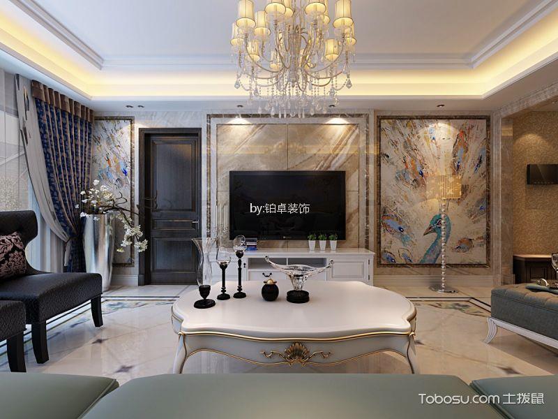 恒大中央广场98㎡三居室欧式风格装修效果图