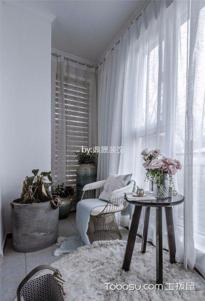 阳台白色落地窗美式风格装饰设计图片