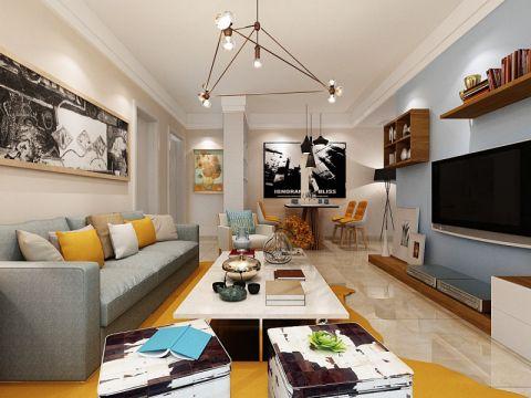 简约风格98平米三室两厅室内装修效果图