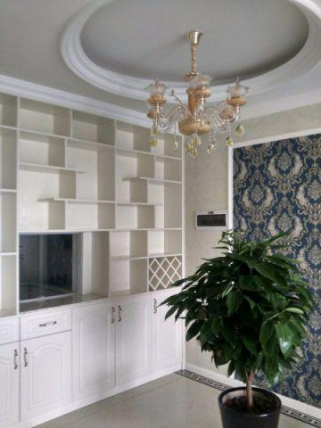 厨房白色吧台简欧风格装修设计图片