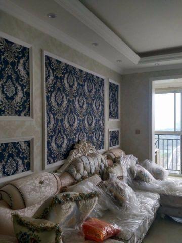 客厅咖啡色沙发简欧风格装饰设计图片