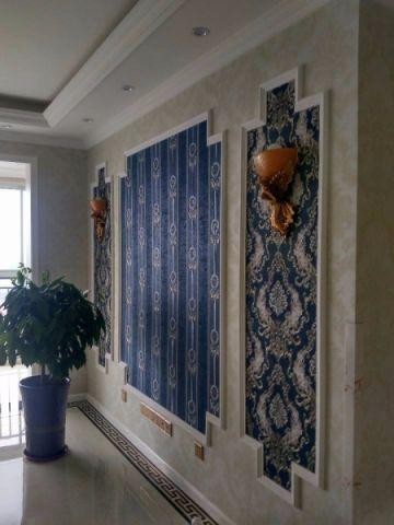 客厅蓝色背景墙简欧风格装潢设计图片