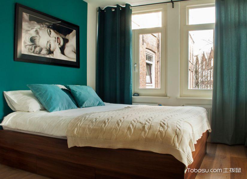 庄重卧室窗帘装潢实景图片