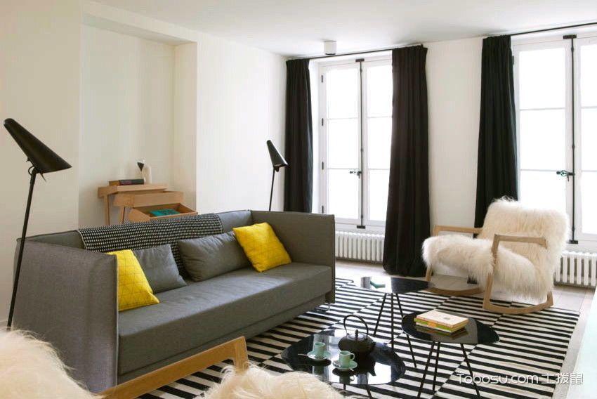客厅窗帘北欧装潢图片