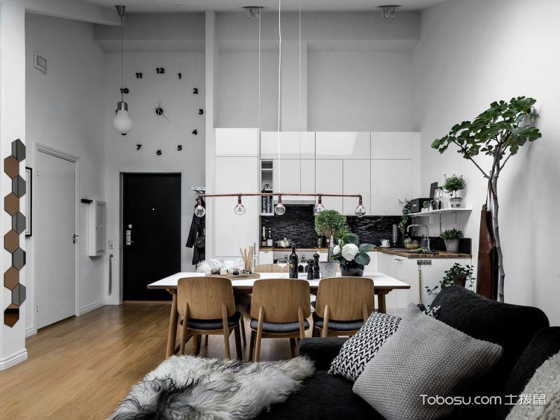 厨房白色隔断北欧风格装修设计图片
