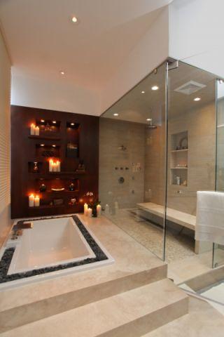 浴室现代风格效果图大全2017图片_土拨鼠温馨时尚浴室现代风格装修设计效果图欣赏