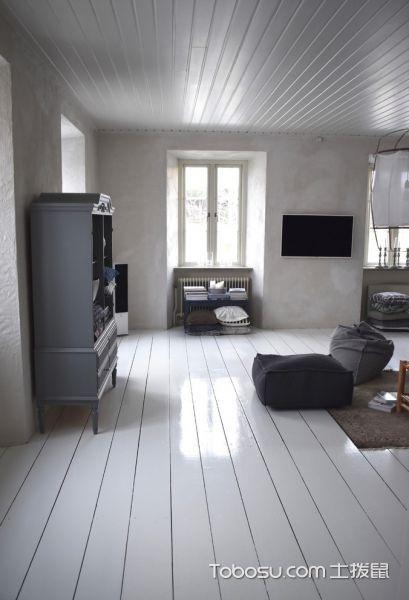 客厅白色地砖北欧风格装潢效果图