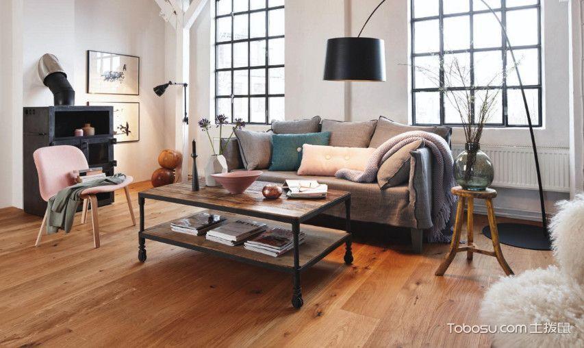 客厅米色茶几北欧风格装饰图片
