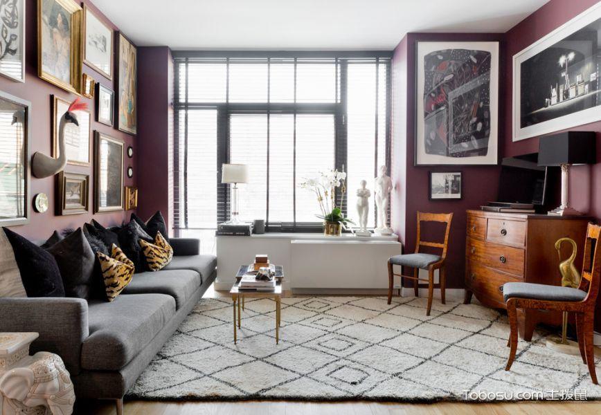 客厅黑色沙发混搭风格装饰图片_土拨鼠装修效果图