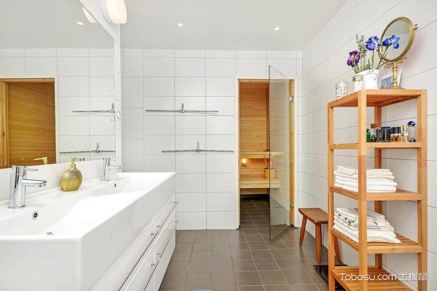 浴室白色洗漱台北欧风格装潢效果图
