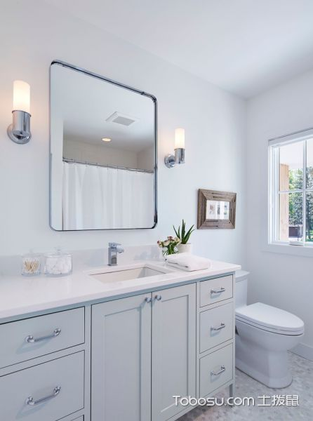 浴室白色洗漱台北欧风格装饰效果图