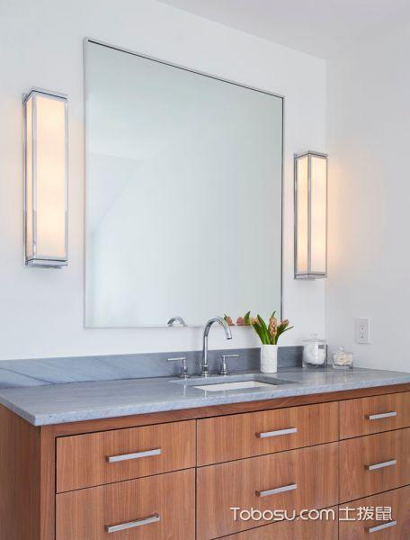 浴室黄色洗漱台北欧风格装潢效果图