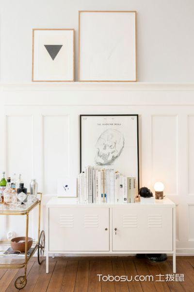 客厅白色电视柜北欧风格装修设计图片
