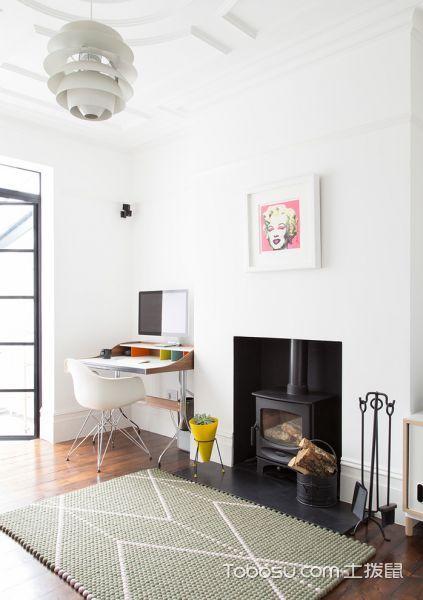 客厅白色灯具北欧风格装潢设计图片