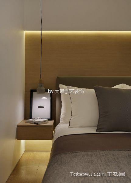 卧室咖啡色床头柜现代简约风格装修图片