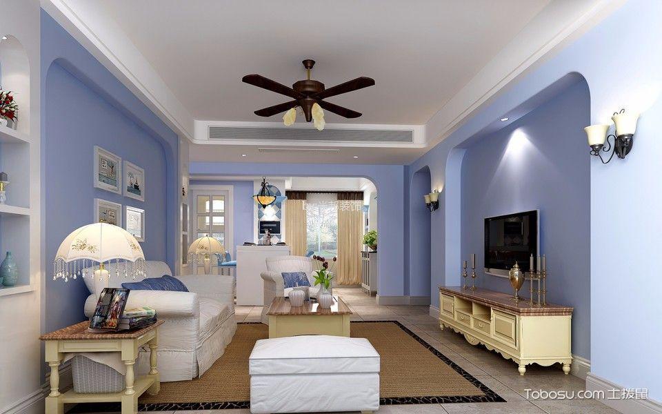 万达中央华城128平地中海风格三居室装修效果图