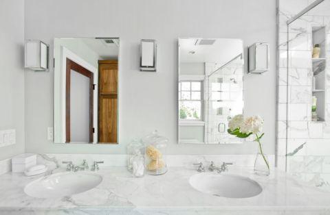 浴室简欧风格效果图大全2017图片_土拨鼠美感纯净浴室简欧风格装修设计效果图欣赏