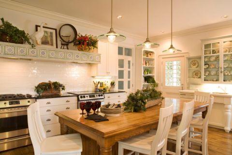 厨房简欧风格效果图大全2017图片_土拨鼠清新风雅厨房简欧风格装修设计效果图欣赏