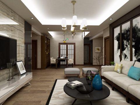 客厅黑色背景墙新中式风格装潢效果图