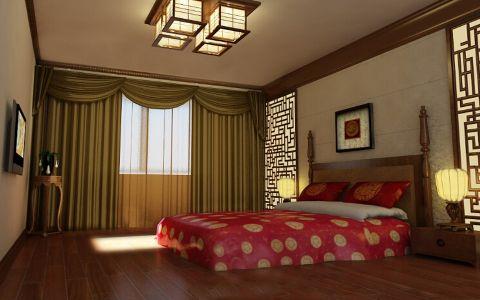 卧室红色床新古典风格效果图