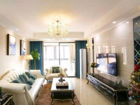 客厅黑色背景墙现代欧式风格装修图片