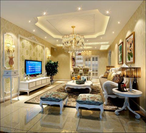 客厅咖啡色沙发简欧风格装修效果图