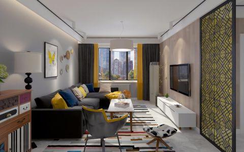 客厅白色窗台现代简约风格装潢设计图片