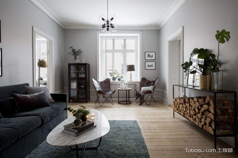 客厅白色沙发北欧风格装饰设计图片_土拨鼠装修效果图
