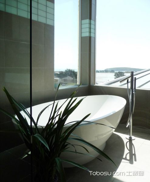 浴室白色洗漱台现代风格装潢设计图片