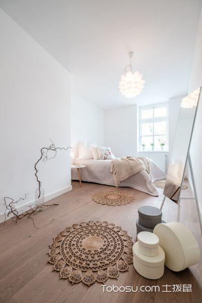 卧室咖啡色地板砖北欧风格装修效果图
