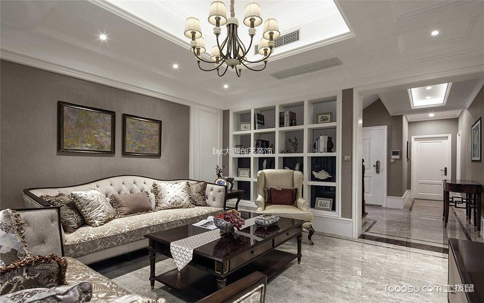 客厅白色书架美式风格装潢效果图