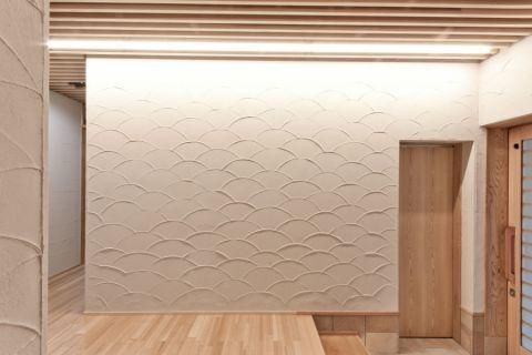 客厅背景墙日式风格装潢设计图片
