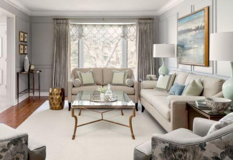 客厅美式风格效果图大全2017图片_土拨鼠时尚温馨客厅美式风格装修设计效果图欣赏