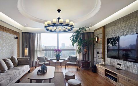 赫石府139平新中式风格三居室装修案例