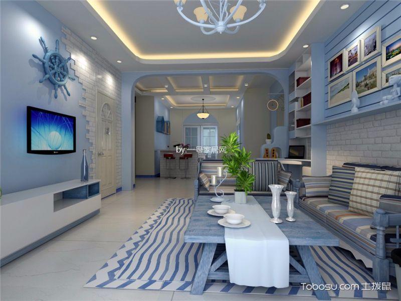 升龙天汇110平三居室地中海风格装修案例效果图