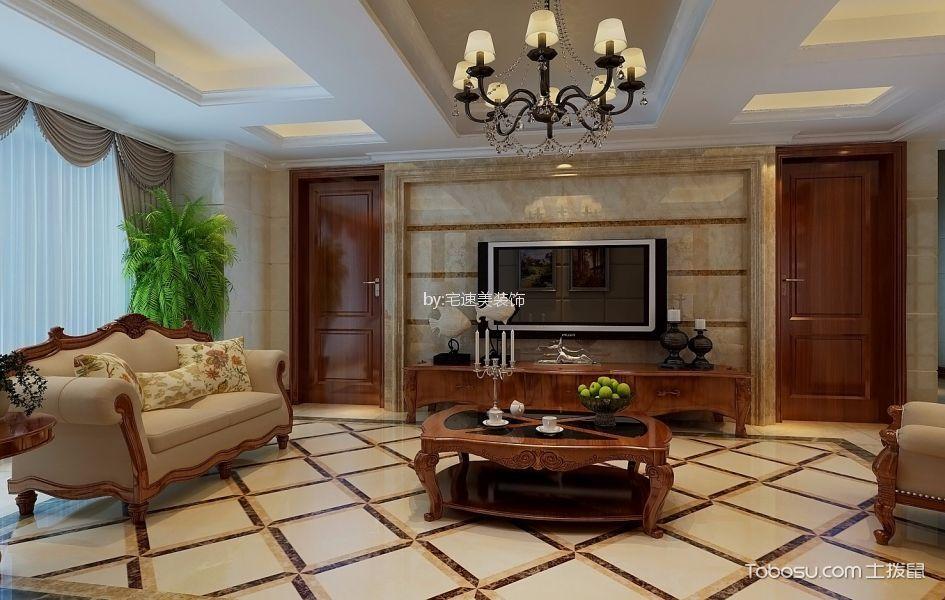上海公馆119平方三居室美式风格装修效果图