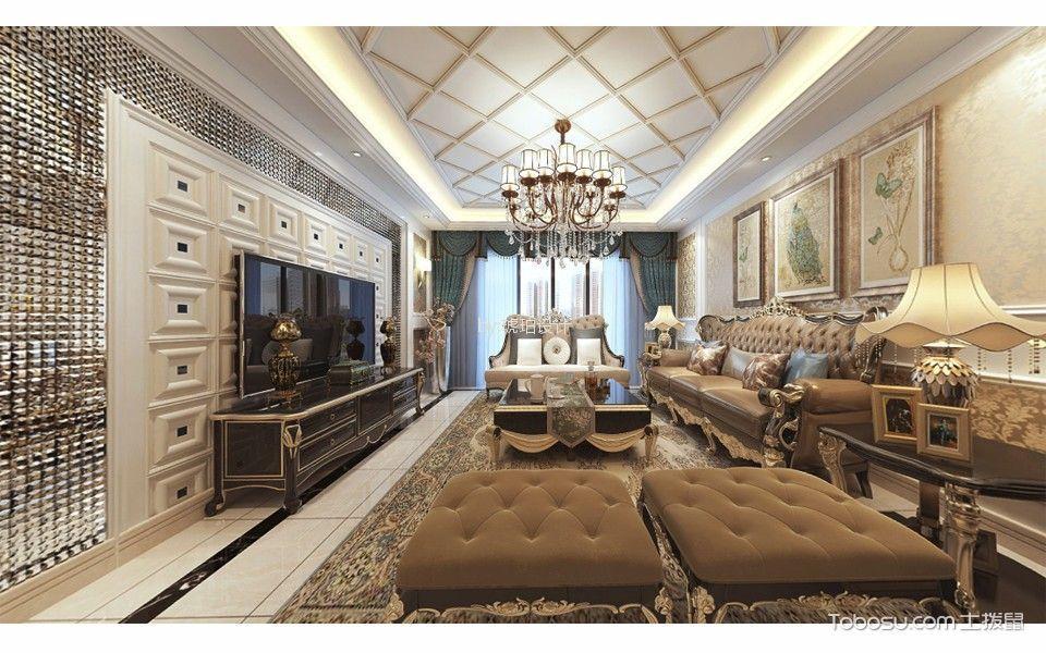 客厅咖啡色茶几新古典风格装修图片