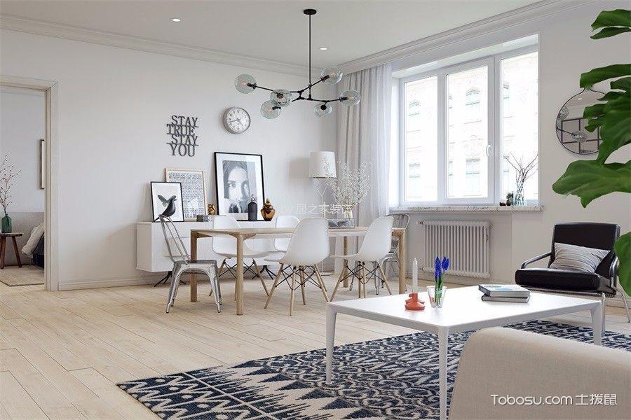 瑞升橡树林96㎡北欧风格两室两厅两卫装修效果图