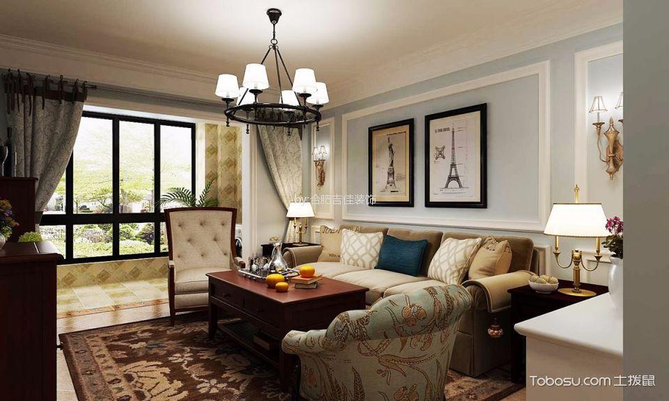 合肥蓝鼎海棠湾115平米美式风格三居室装修效果图