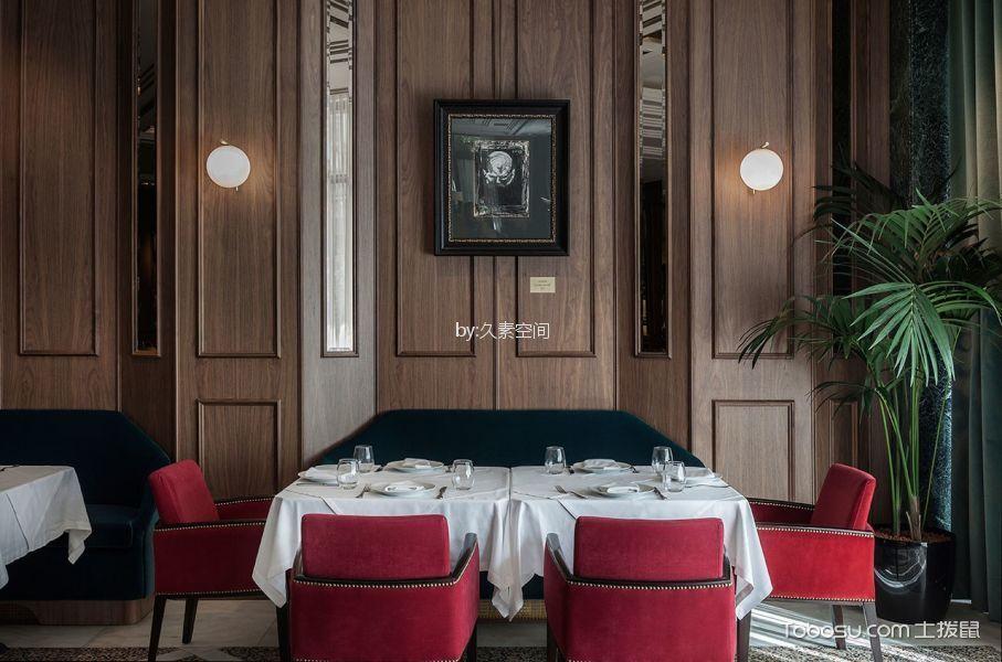 酒吧就餐区红色座椅装修图片