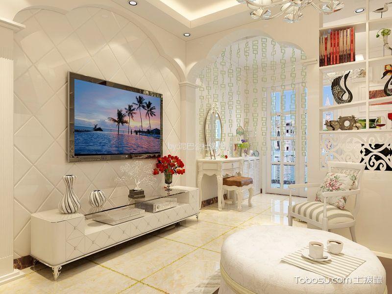 客厅米色电视柜欧式风格装修效果图