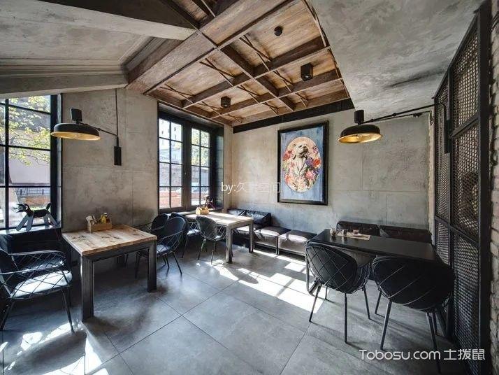 咖啡厅茶水区灰色地板装修图片
