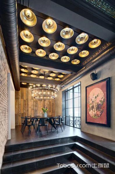 咖啡厅茶水区黑色吊顶装修图片
